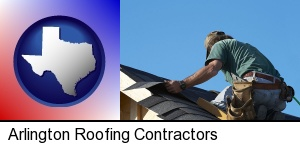 a roofing contractor installing asphalt roof shingles in Arlington, TX