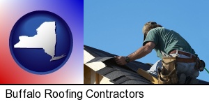 Buffalo, New York - a roofing contractor installing asphalt roof shingles