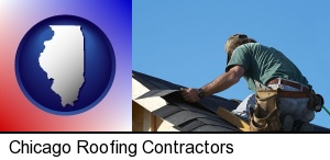 a roofing contractor installing asphalt roof shingles in Chicago, IL