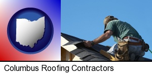 a roofing contractor installing asphalt roof shingles in Columbus, OH