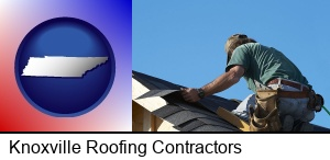 Knoxville, Tennessee - a roofing contractor installing asphalt roof shingles