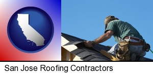 a roofing contractor installing asphalt roof shingles in San Jose, CA