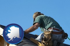 alaska map icon and a roofing contractor installing asphalt roof shingles