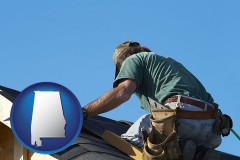 alabama map icon and a roofing contractor installing asphalt roof shingles