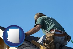 arizona map icon and a roofing contractor installing asphalt roof shingles
