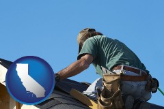 california map icon and a roofing contractor installing asphalt roof shingles