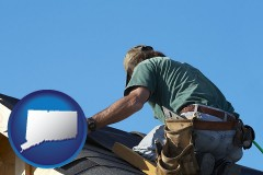 connecticut map icon and a roofing contractor installing asphalt roof shingles