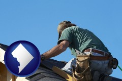 washington-dc a roofing contractor installing asphalt roof shingles