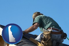 delaware map icon and a roofing contractor installing asphalt roof shingles