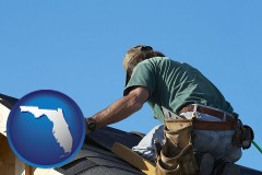 florida map icon and a roofing contractor installing asphalt roof shingles