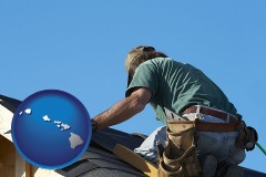hawaii map icon and a roofing contractor installing asphalt roof shingles