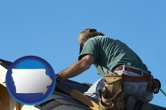 iowa map icon and a roofing contractor installing asphalt roof shingles