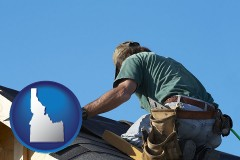 idaho map icon and a roofing contractor installing asphalt roof shingles