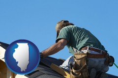 illinois map icon and a roofing contractor installing asphalt roof shingles