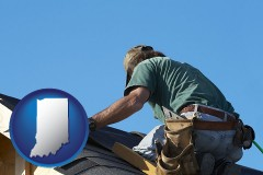 indiana map icon and a roofing contractor installing asphalt roof shingles