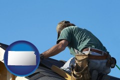 kansas map icon and a roofing contractor installing asphalt roof shingles