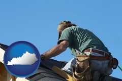 kentucky map icon and a roofing contractor installing asphalt roof shingles