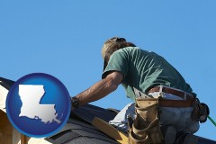 louisiana map icon and a roofing contractor installing asphalt roof shingles