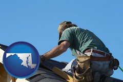 maryland map icon and a roofing contractor installing asphalt roof shingles