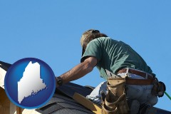 maine map icon and a roofing contractor installing asphalt roof shingles