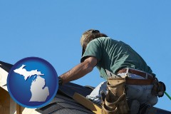 michigan map icon and a roofing contractor installing asphalt roof shingles