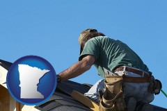 minnesota map icon and a roofing contractor installing asphalt roof shingles