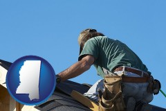 mississippi map icon and a roofing contractor installing asphalt roof shingles