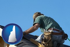 new-hampshire map icon and a roofing contractor installing asphalt roof shingles