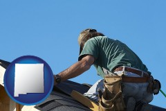 new-mexico a roofing contractor installing asphalt roof shingles