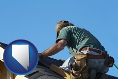 nevada map icon and a roofing contractor installing asphalt roof shingles