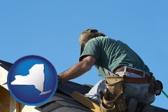 new-york map icon and a roofing contractor installing asphalt roof shingles