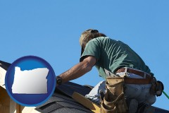 oregon map icon and a roofing contractor installing asphalt roof shingles