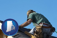 rhode-island map icon and a roofing contractor installing asphalt roof shingles