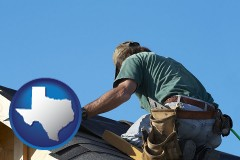 texas map icon and a roofing contractor installing asphalt roof shingles