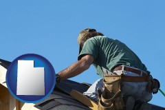 utah map icon and a roofing contractor installing asphalt roof shingles