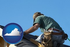 virginia map icon and a roofing contractor installing asphalt roof shingles