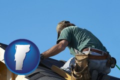 vermont map icon and a roofing contractor installing asphalt roof shingles