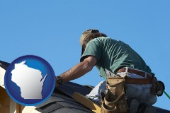 wisconsin map icon and a roofing contractor installing asphalt roof shingles