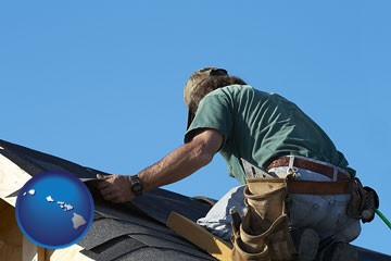 a roofing contractor installing asphalt roof shingles - with Hawaii icon