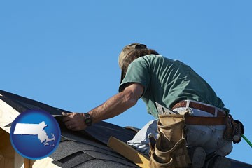 a roofing contractor installing asphalt roof shingles - with Massachusetts icon
