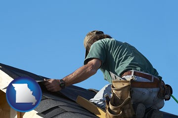 a roofing contractor installing asphalt roof shingles - with Missouri icon