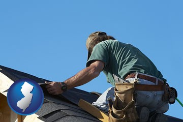 a roofing contractor installing asphalt roof shingles - with New Jersey icon