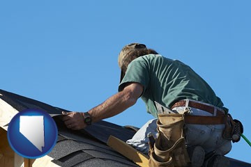 a roofing contractor installing asphalt roof shingles - with Nevada icon