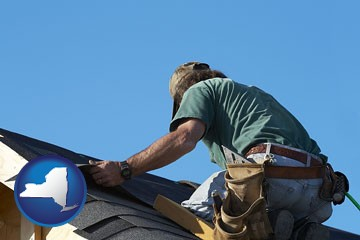 a roofing contractor installing asphalt roof shingles - with New York icon