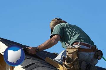 a roofing contractor installing asphalt roof shingles - with Ohio icon