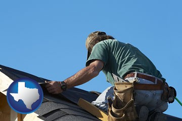 a roofing contractor installing asphalt roof shingles - with Texas icon