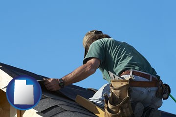 a roofing contractor installing asphalt roof shingles - with Utah icon
