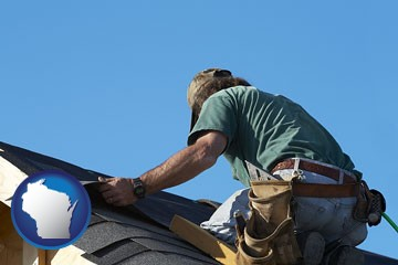 a roofing contractor installing asphalt roof shingles - with Wisconsin icon