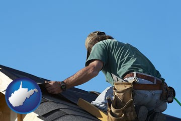 a roofing contractor installing asphalt roof shingles - with West Virginia icon