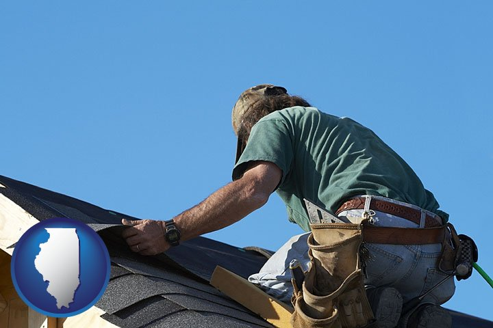A Roofing Contractor Installing Asphalt Roof Shingles   With Illinois Icon